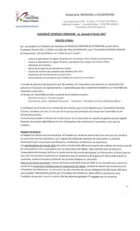 Compte Rendu De Reunion Association Noailhac Memoire Et Patrimoine